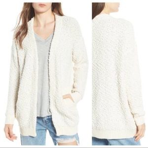 NWT Dreamers Nubby Open Cardigan Sweater Ivory
